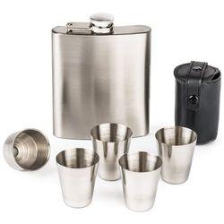 4-home Piersiówka podarunkowa z akcesoriami silver