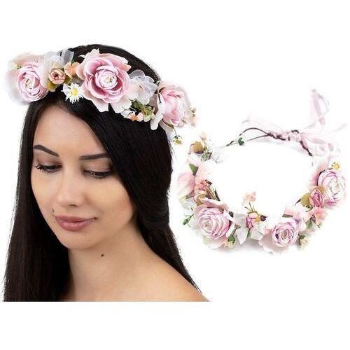 Pozostała biżuteria, Wianek na głowę boho kwiaty różowy ślubny piwonie
