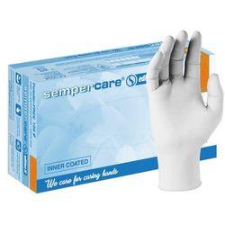 Lateksowe rękawice ochronne Sempercare Edition IC, bezpudrowe, białe 100 szt - roz. XS