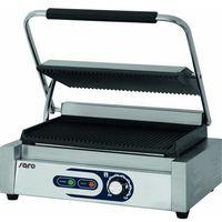 Grille gastronomiczne, OUTLET - Grill kontaktowy żeliwny pojedyńczy ryflowany | 340x230mm | 2200W