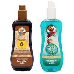 Australian Gold SPF 6 Spray Gel Bronzer and Aloe Freeze Spray | Zestaw do opalania: spray do opalania z bronzerem 237ml + chłodzący spray po opalaniu 237ml