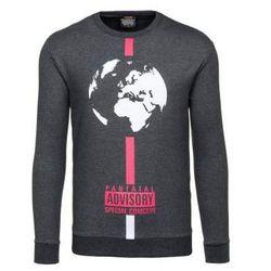 Antracytowa bluza męska bez kaptura Denley 0388