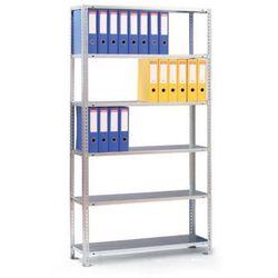Regał na segregatory COMPACT, 6 półek, 1850x1250x300 mm, ocynk, podstawowy