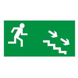 Znak Kierunek ewakuacji schodami w prawo w dół