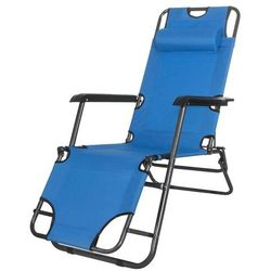 Leżak ogrodowy z zagłówkiem niebieski - NIEBIESKI \ GC0004