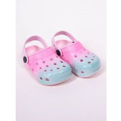 Klapki piankowe kroksy ogrodowe dziewczęce tęczowe różowo-niebieskie 31