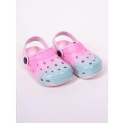 Klapki piankowe kroksy ogrodowe dziewczęce tęczowe różowo-niebieskie 34