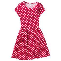 Sukienka shirtowa w groszki bonprix czerwono-biały w groszki