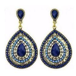 Kolczyki w stylu Bohemian, niebieskie. Kolekcja Dalia