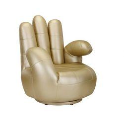 Fotel obrotowy w kształcie dłoni CATCHY z materiału skóropodobnego - Złoty