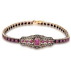Kolekcja Wiktoriańska - bransoletka z diamentami i rubinami