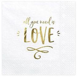 Serwetki weselne białe All you need is love - 33 cm - 20 szt.