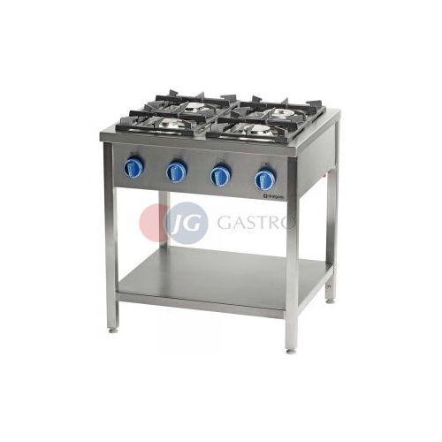 Piece i płyty grzejne gastronomiczne, Kuchnia gazowa wolnostojąca 4-palnikowa z półką 24,5 kW Stalgast 999543