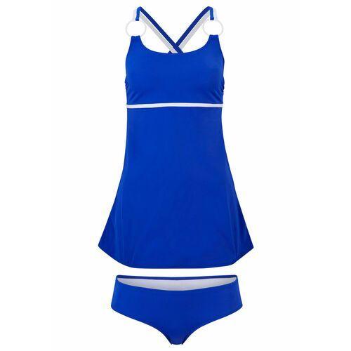 Stroje kąpielowe, Bikini na fiszbinach bonprix ciemnoniebiesko-turkusowy z nadrukiem