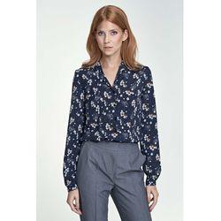 Elegancka Granatowa Koszula z Długim Rękawem Wzór w Kwiaty