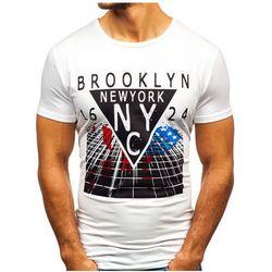 T-shirt męski z nadrukiem biały Denley KY31