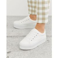 Damskie obuwie sportowe, ASOS DESIGN Drama chunky embossed lace up trainers in white - White