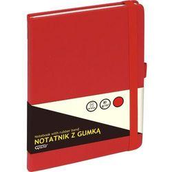 Notatnik GRAND z gumką czerwony A5/80 kartek kratka - KW TRADE