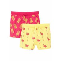 Krótkie spodenki dziecięce, Szorty dziewczęce (2 pary) bonprix jasna limonka - różowy hibiskus