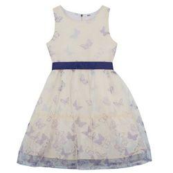 Sukienka dziewczęca na uroczyste okazje bonprix biało-szafirowy
