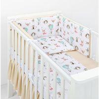 Pościel, MAMO-TATO 3-el dwustronna pościel dla niemowląt do łóżeczka 60x120 Zwierzyniec / beż