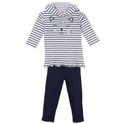 Shirt niemowlęcy + legginsy (2 części), bawełna organiczna bonprix biało-ciemnoniebieski w paski