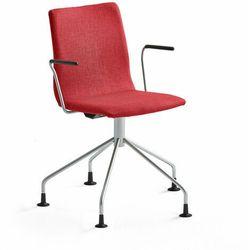 Krzesło konferencyjne OTTAWA, nogi pająka, podłokietniki, czerwona tkanina, szary
