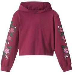 Bluza dziewczęca z kapturem bonprix czerwony rododendron