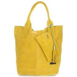 Torebki Skórzane typu ShopperBag XL Włoskiej firmy Vittoria Gotti wykonane z Wysokiej Jakości Zamszu Naturalnego Żółty (kolory)