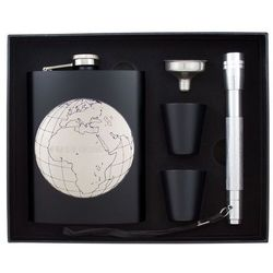 Piersiówka Mapa Podróżnika w zestawie z kieliszkami, lejkiem i latarą