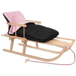Sanki dla dzieci z oparciem drewniane, śpiworek czarno-różowy