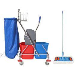 Wózek do sprzątania 2x17 l z uchwytem na worek i mopem płaskim 40 cm Wózek sprzątający z mopem, Wózek do mycia podłóg