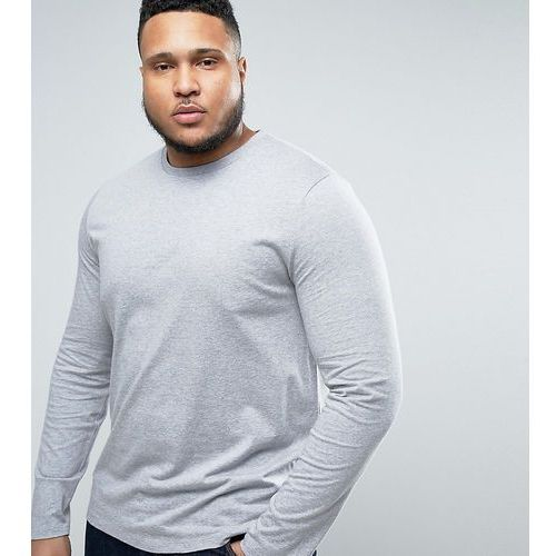 Koszulki z długim rękawem, ASOS PLUS Long Sleeve T-Shirt With Crew Neck In Grey Marl - Grey