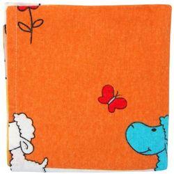 Pielucha flanelowa 70x80cm Żółto - pomarańczowa z wzorem w owieczki