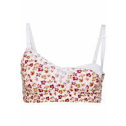 Biustonosz do karmienia piersią, bawełna organiczna bonprix biały w kwiaty