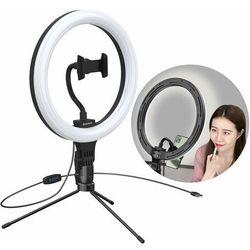 Baseus fotograficzna lampa 10'' ring flash pierścień LED do telefonu smartfona do zdjęć selfie filmów (YouTube, TikTok) + mini statyw czarny (CRZB10-A01)