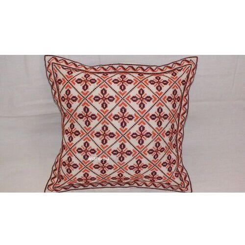 Pościel, Haftowana poduszka, haft krzyżykowy, brąz-pomarańcz 40x40 cm (bw-4)