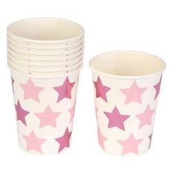 Kubeczki papierowe Gwiazdki różowe - 220 ml - 8 szt.