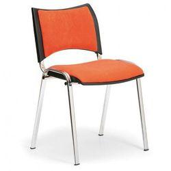 Krzesło konferencyjne SMART - chromowane nogi, bez podłokietników, pomarańczowy