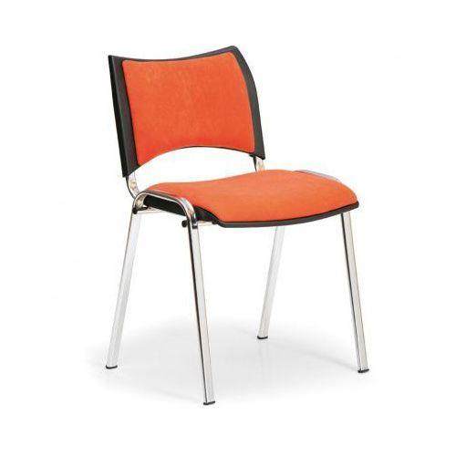 Fotele i krzesła biurowe, Krzesło konferencyjne SMART - chromowane nogi, bez podłokietników, pomarańczowy