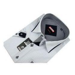Koszula Męska Speed.A biała w jasne wzory na krótki rękaw duże rozmiary K562