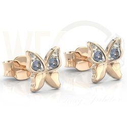 Kolczyki z różowego złota z niebieskimi cyrkoniami BPK-88P-R-C - Różowe z rodowaniem