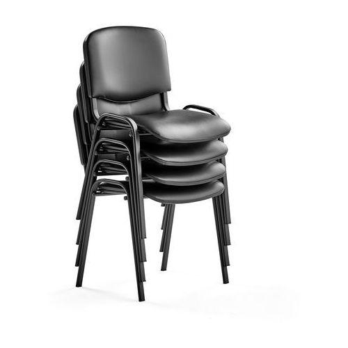 Fotele i krzesła biurowe, Krzesło konferencyjne NELSON, 4 szt., skai, czarny
