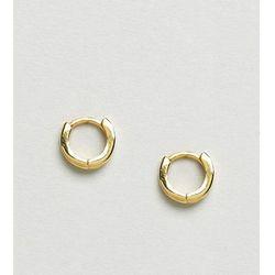 ASOS DESIGN gold plated sterling silver huggie hinged hoop earrings - Gold