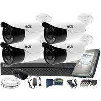 Zestawy monitoringowe, Kompletny zestaw do monitoringu rejestrator BCS-XVR0401 4 kamery BCS-TQE5200IR3-B Dysk 1TB Akcesoria