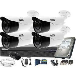Kompletny zestaw do monitoringu rejestrator BCS-XVR0401 4 kamery BCS-TQE5200IR3-B Dysk 1TB Akcesoria