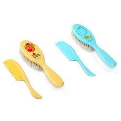 BabyOno Szczoteczka z naturalnym super miękkim włosiem + grzebyk 564: Kolor - Żółty