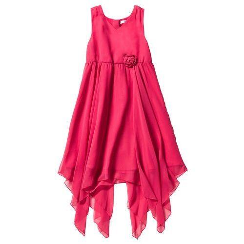 Sukienki dziecięce, Sukienka dziewczęca szyfonowa bonprix różowy hibiskus
