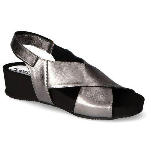 Sandały damskie, Sandały Karino 3353/115-P Ciemne srebro lico