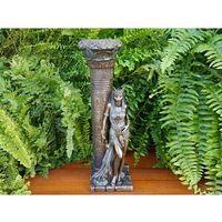 Rzeźby i figurki, EGIPSKA BOGINI BASTET OPARTA O KOLUMNĘ - ŚWIECZNIK VERONESE (WU76698A4)